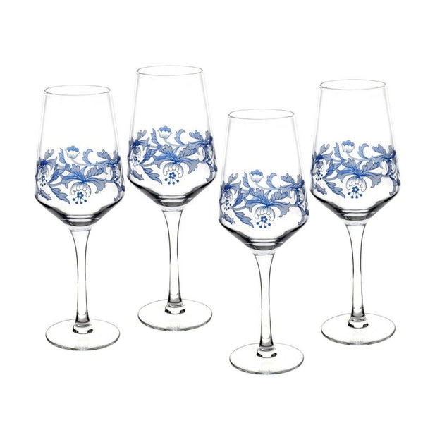 Spode Blue Italian Wine Glasses Set of 4