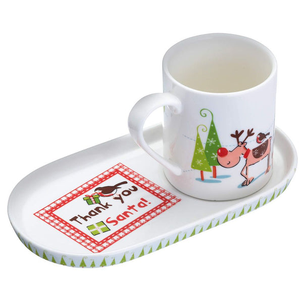 "Kitchen Craft Christmas Mug and Cookie Tray Set ""Thank You Santa"""