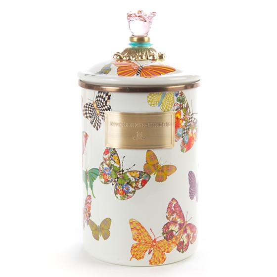 MacKenzie-Childs Butterfly Garden Large Canister - White