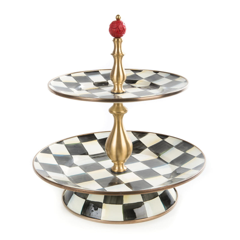 MacKenzie-Childs Courtly Check Enamel Two Tier Sweet Stand