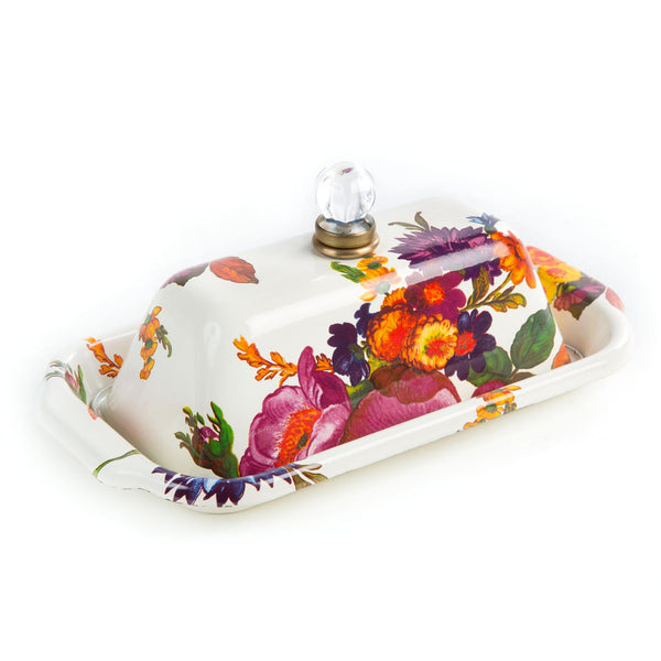 MacKenzie-Childs Flower Market Butter Box - White