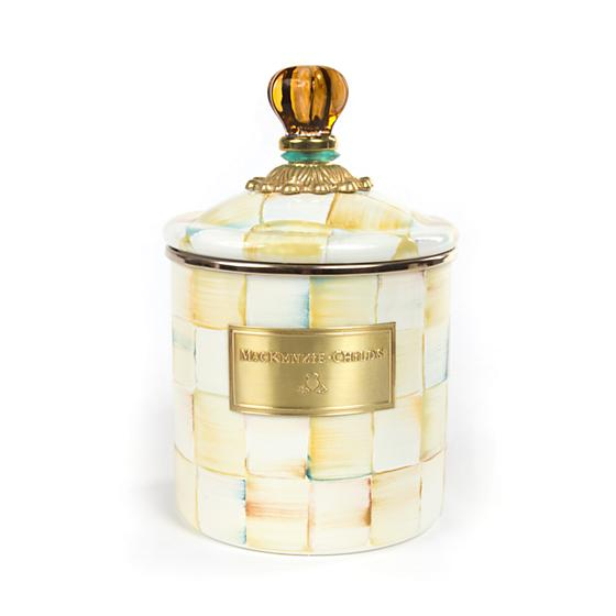 MacKenzie-Childs Parchment Check Enamel Canister - Small