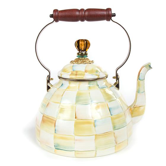 MacKenzie-Childs Parchment Check Enamel Tea Kettle - 3 Quart