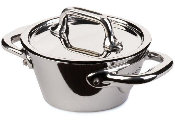 Mauviel M'minis Splayed Saute Casserole & Lid Stainless Steel 9cm