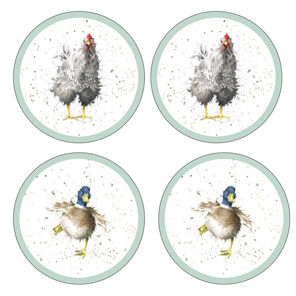 Pimpernel for Royal Worcester Wrendale Designs Farmyard Feathers Round Coasters Set of 4
