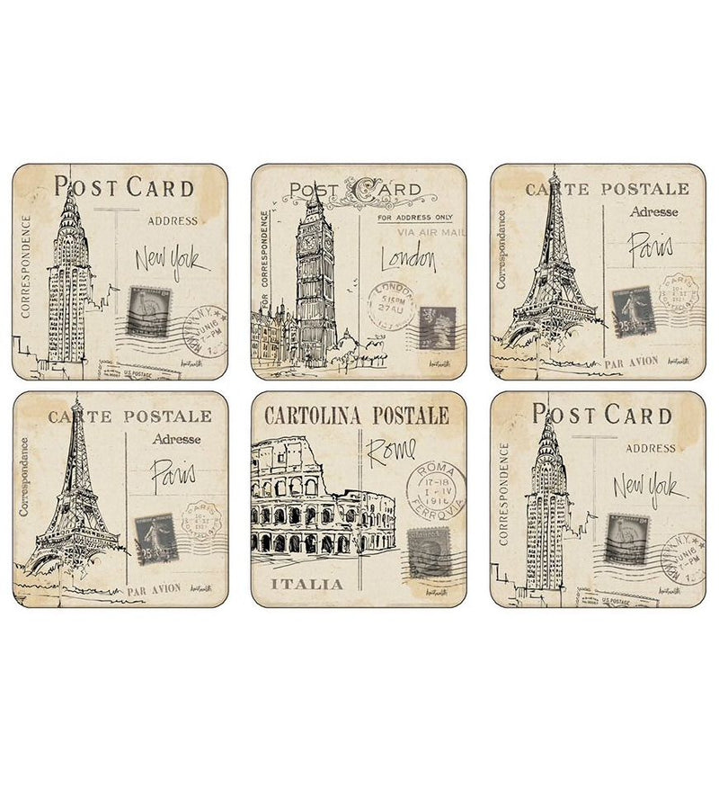 Pimpernel Postcard Sketches Coasters Set of 6