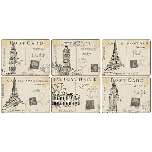 Pimpernel Postcard Sketches Placemats Set of 6