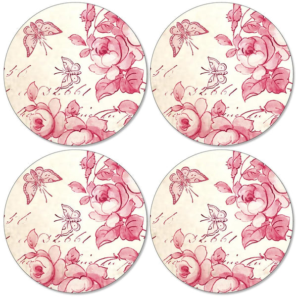 Pimpernel Red Archive Round Coasters Set of 4