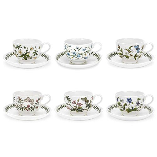 Portmeirion Botanic Garden Pick Me Up Teacup & Saucer Set of 6