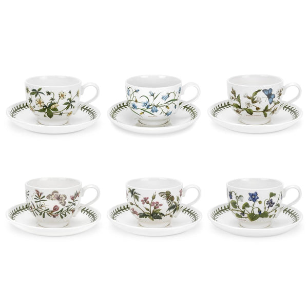 Portmeirion Botanic Garden Teacup and Saucer New Motifs Set of 6