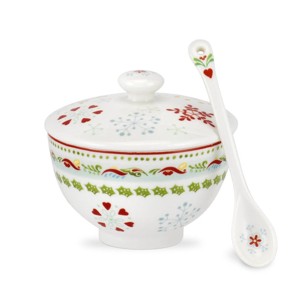 Portmeirion Christmas Wish Conserve Pot & Ceramic Spoon