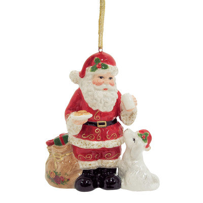 Royal Albert Old Country Roses Santa With Puppy Musical Christmas Ornament