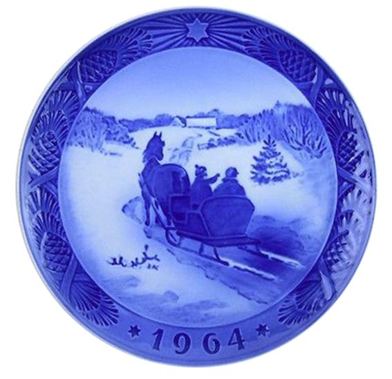 Royal Copenhagen Christmas Plate 1964 - Fetching the Tree