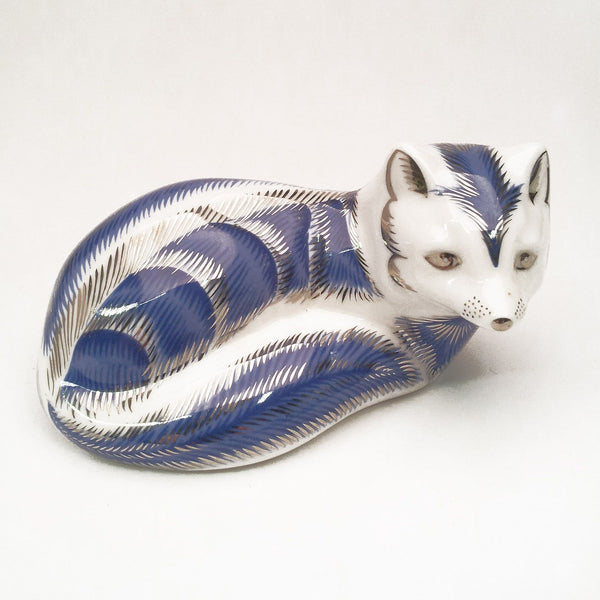 Royal Crown Derby Arctic Fox Platinum Paperweight