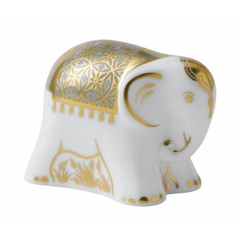 Royal Crown Derby Aura Baby Elephant Blue Paperweight