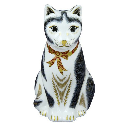 Royal Crown Derby Black & White Mother Cat Paperweight