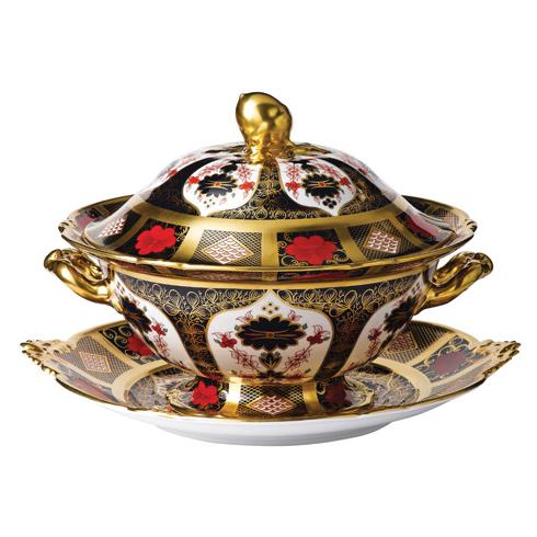 Royal Crown Derby Old Imari Solid Gold Band Soup Tureen & Stand Set