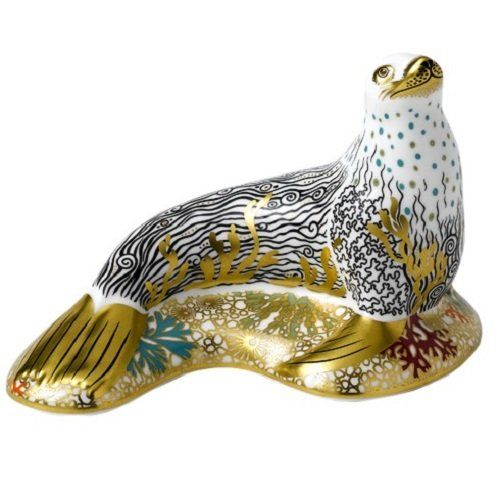 Royal Crown Derby White Sea Lion Paperweight