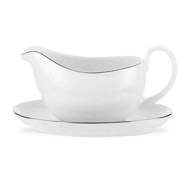 Royal Worcester Classic Platinum Sauce Boat & Stand