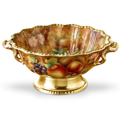 Royal Worcester Painted Fruit Gadroon Bowl 34cm