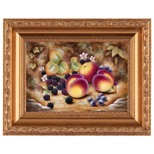 Royal Worcester Painted Fruit Plaque with Frame Medium