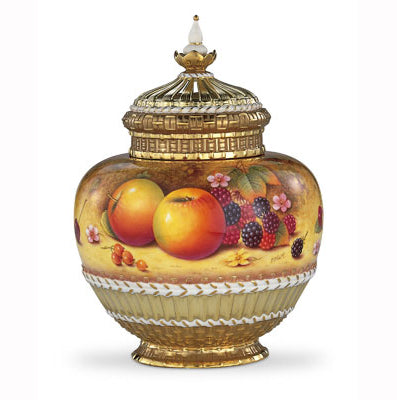 Royal Worcester Painted Fruit Pot Pourri Vase (1286) M/S 26.5cm