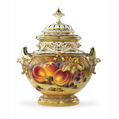 Royal Worcester Painted Fruit Pot Pourri Vase (1428) M/S 35.5cm