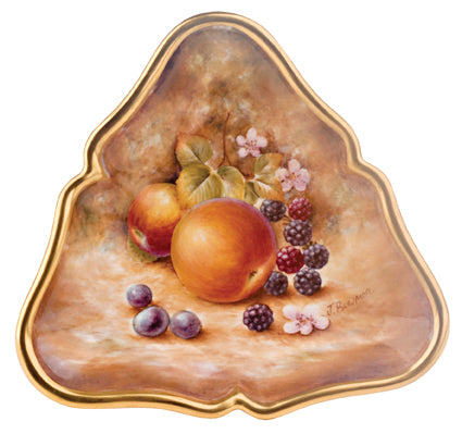 Royal Worcester Painted Fruit Triangle Tray