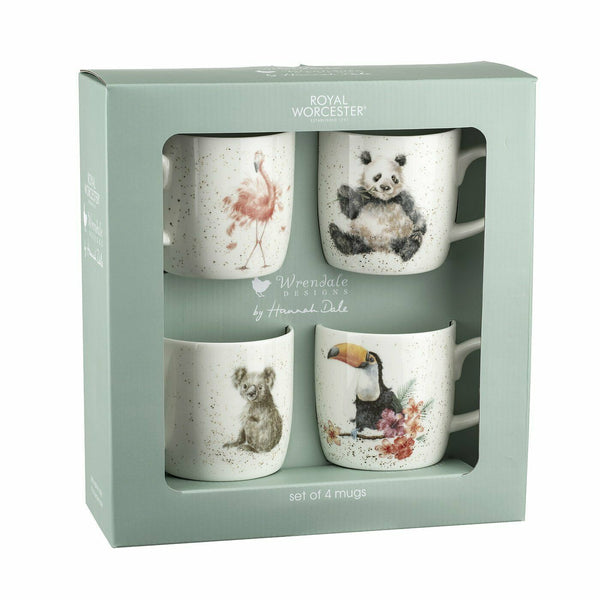 Royal Worcester Wrendale Designs by Hannah Dale Set of 4 Animal Mugs in Giftbox
