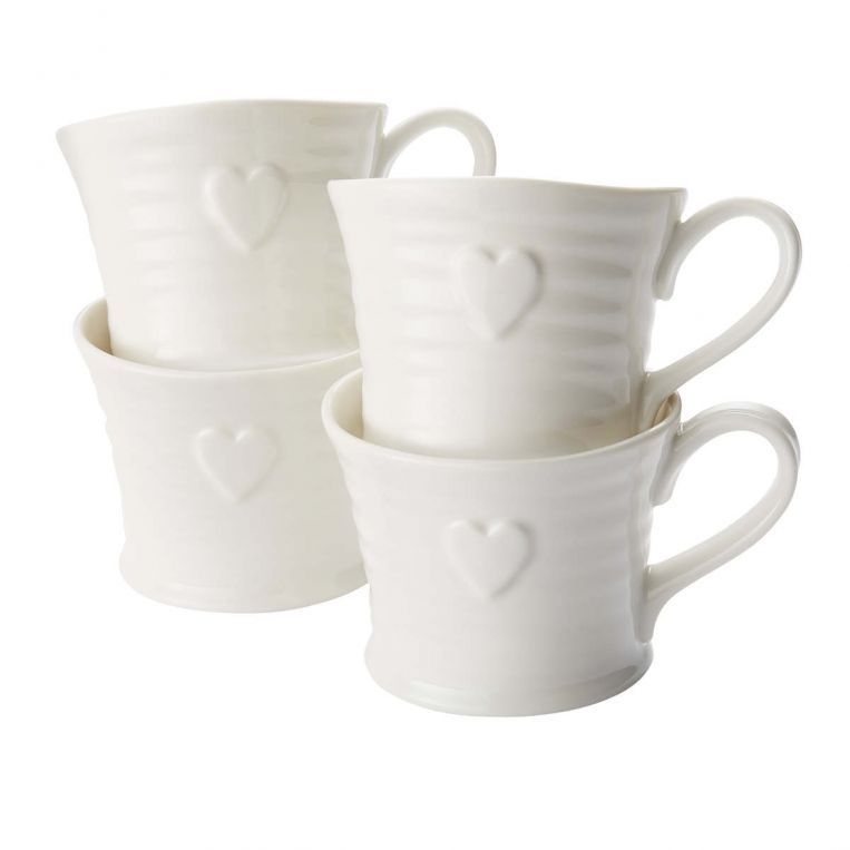 Sophie Conran for Portmeirion White Embossed Heart Mug (Set of 4)