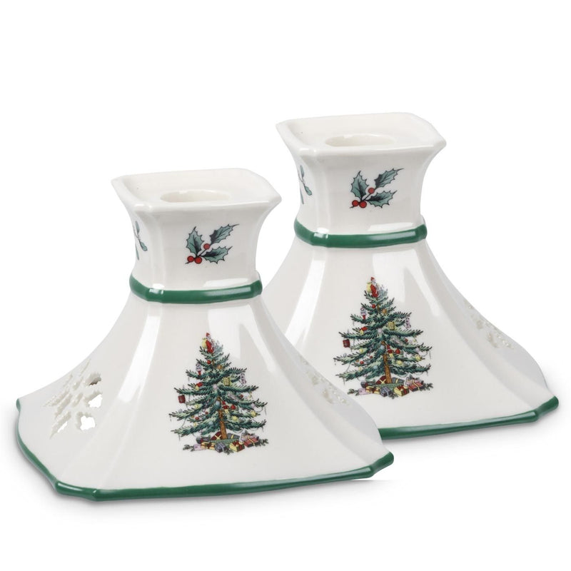 Spode Christmas Tree Candle Holder - Set of 2