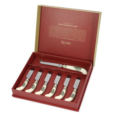 Spode Christmas Tree Cheese Knife and 6 Spreaders