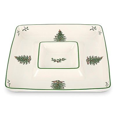 Spode Christmas Tree Chip and Dip All in One