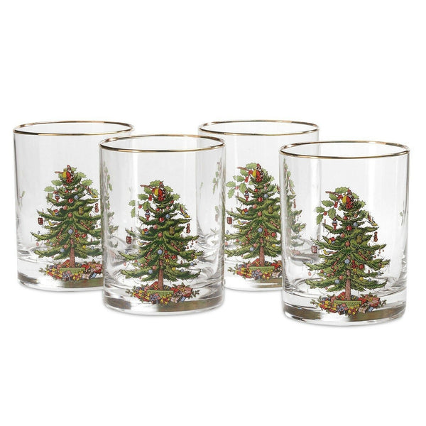 Spode Christmas Tree Double Old Fashioned Tumbler Set of 4