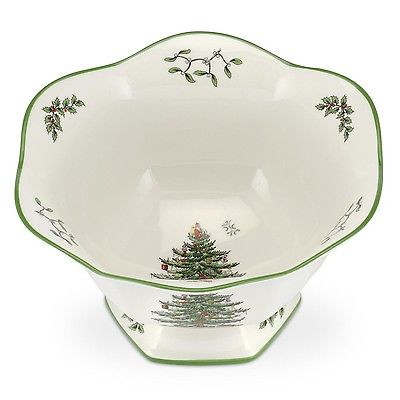 Spode Christmas Tree Hexagonal Footed Bowl