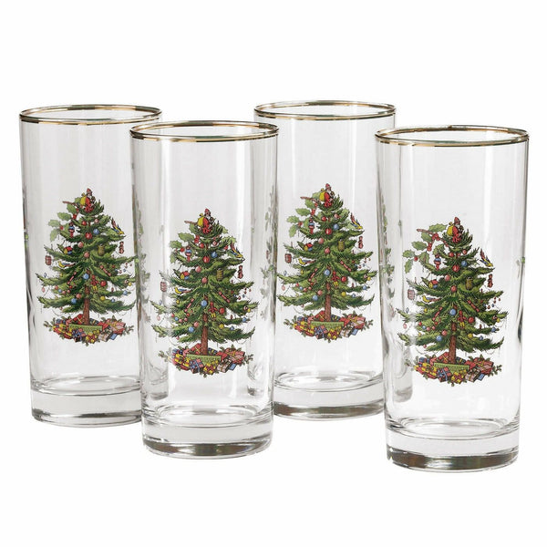 Spode Christmas Tree Highball Glass 15oz Set of 4