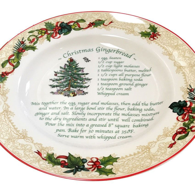Spode Christmas Tree Holiday Recipe Plate - Christmas Gingerbread