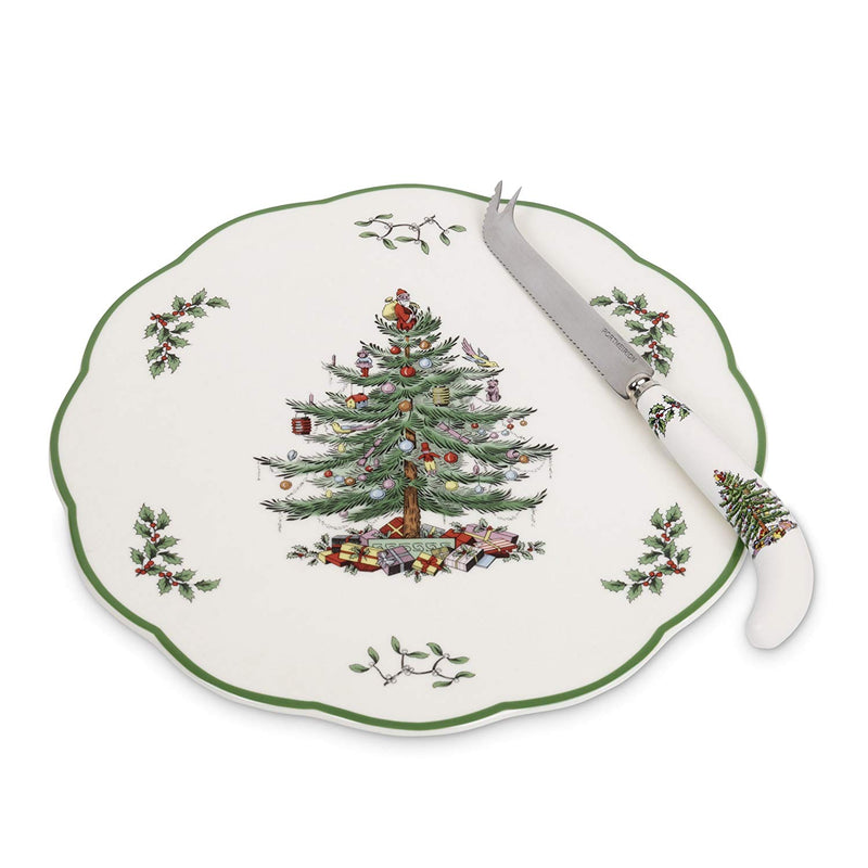 Spode Christmas Tree Hors d'Oeurve Plate with Knife