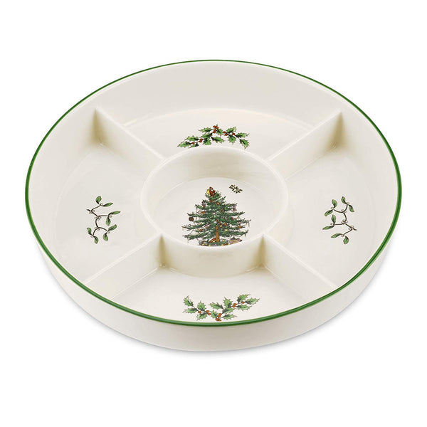 Spode Christmas Tree Hors D'oeuvres 5 Section Plate