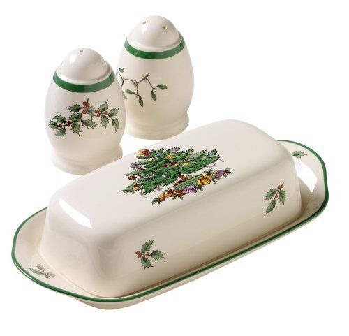 Spode Christmas Tree Hostess Set (Covered Butter & Salt & Pepper)