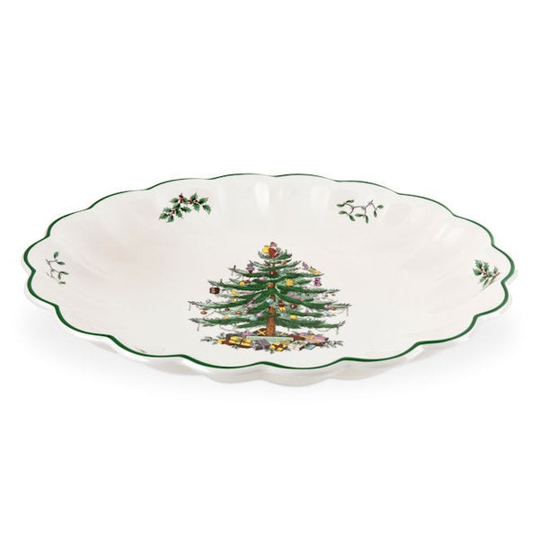 Spode Christmas Tree Oval Fluted Dish 37cm