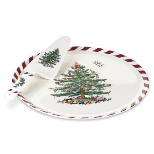 Spode Christmas Tree Peppermint Cake Plate and Server