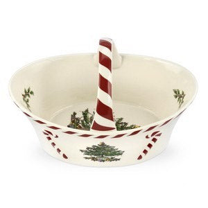 Spode Christmas Tree Peppermint Handle Basket