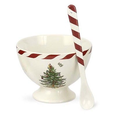 Spode Christmas Tree Peppermint Sorbet Dish with Spoon
