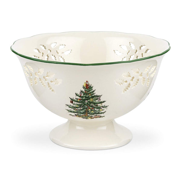 Spode Christmas Tree Pierced Footed Comport