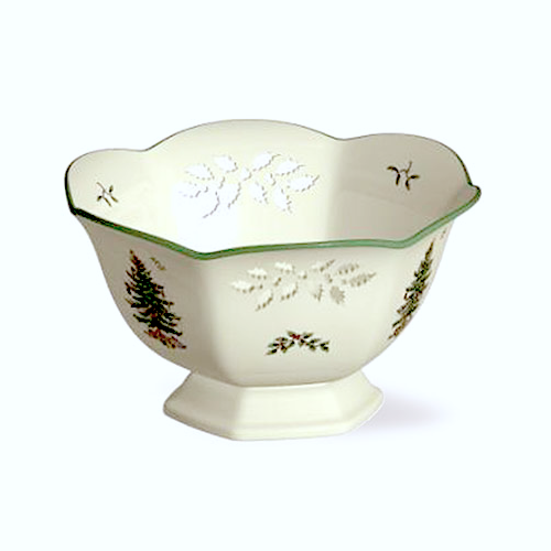 Spode Christmas Tree Pierced Hexagonal Footed Bowl