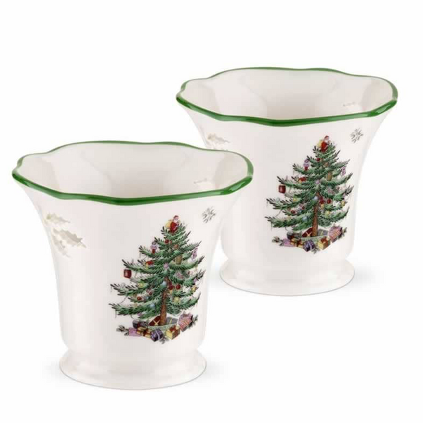 Spode Christmas Tree Pierced Tealight Holder with Tealights - Set of 2