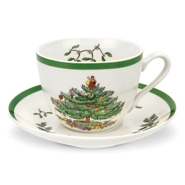 Spode Christmas Tree Teacup & Saucer in Gift Box