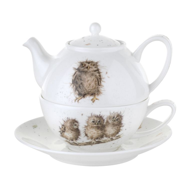 Royal Worcester Wrendale Designs Tea For One with Saucer (Owls) 0.30L
