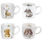 Royal Worcester Wrendale Designs Set of 4 Animal Mugs in Giftbox